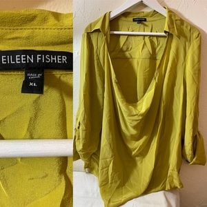 EILEEN FISHER YELLOW DRAPED FRONT BLOUSE SILK